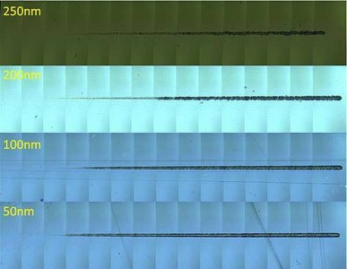 Figure 3: Panoramic comparison of scratches on each sample, (500x magnification). Applied load range was 0.08 - 5 mN.